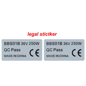 2Pcs BAFANG BBS01B 36V 250W Motor Legal Aufkleber für eBike Sticker 8F CE Label
