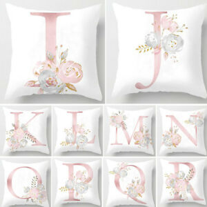 ENGLISH ALPHABET FLORAL PRINT PILLOW CASE WAIST CUSHION COVER WEDDING BED DECOR