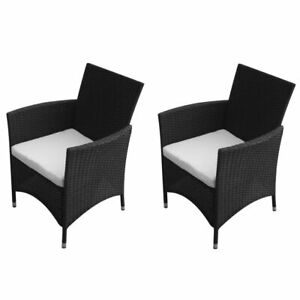 vidaXL-2x-Garden-Chairs-Poly-Rattan-Wicker-Black-Patio-Outdoor-Furniture-Seat