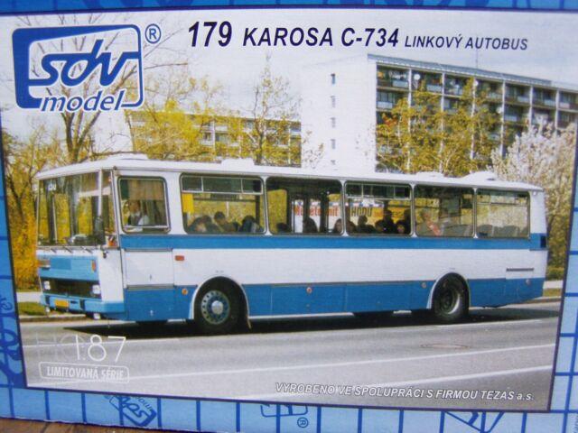 SDV Karosa C-734 BUS blue white Plastic Model Kit 1/87 H0 Czech Republic