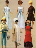 "VINTAGE 1964 11.5"" BARBIE, MIDGE KEN  DOLL CLOTHES PATTERN 7840"