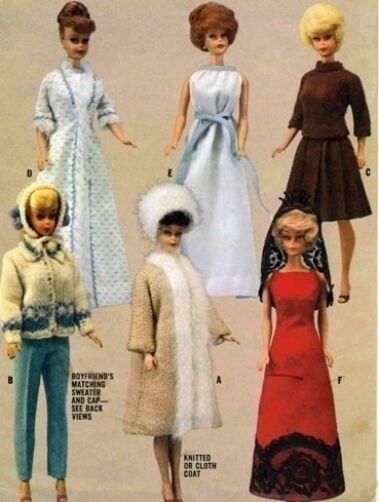 "VINTAGE 1964 11.5"" BARBIE, MIDGE KEN  DOLL CLOTHES PATTERN 7840"
