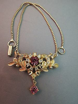 VTG Removable Pendant Brooch Chain Necklace Gold Plated Pink Rhinestone Dangle