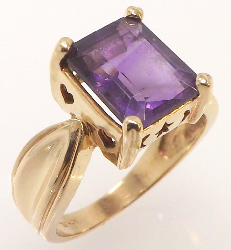 10K YELLOW gold GENUINE EMERALD CUT AMETHYST SOLITAIRE RING SIZE 6.75