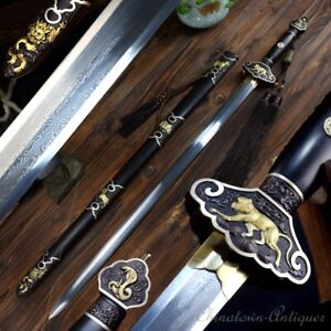 Chinese-Zodiac-Sword-Folded-pattern-steel-Blade-24K-gold-plated-Fittings-1243