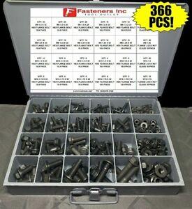 366-Piece-Grade-10-9-Metric-Flange-Bolt-amp-Flange-Lock-Nut-Assortment-Kit-Black
