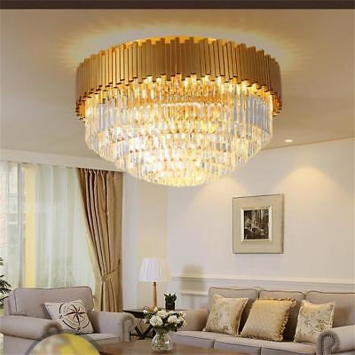 K9 cristal oro metal base al ras del techo de luz Lámpara 50cm 65cm 80cm E14 Bombillas