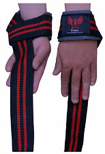 BOOM Weight Lifting Cotton Gym Straps Padded Gel Wrist Support Wraps Training