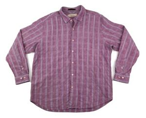 Tommy-Bahama-Mens-XL-Cotton-Silk-Blend-Button-Down-Shirt-Long-Sleeve-Striped