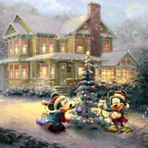 Mickey And Minni Christmas Tree,Cross Stitch Pattern Holidays Disney Fine Art