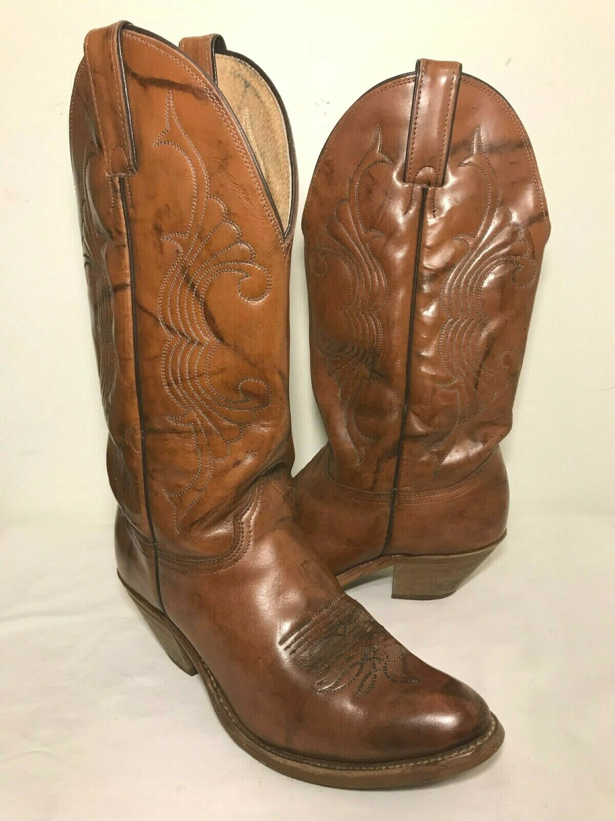 ABILENE Cowboy Western Boots Womens Sz 8M Brown Leather Pull On USA