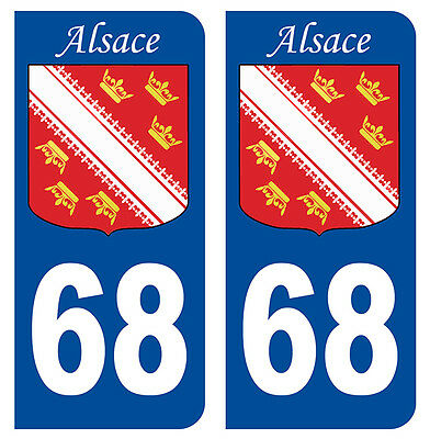 68 Haut-rhin Alsace Departement Immatriculation 2 X Autocollants Sticker Auto