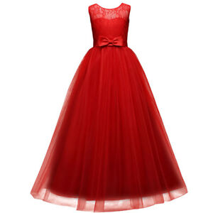 Red Christmas Costume Flower Girl Dress For Wedding Party Formal Graduation Gown