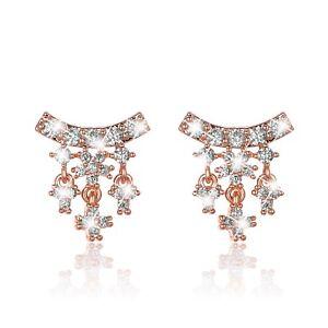 AEIWO 18k white rose yellow gold gp stud simulated diamond tassel earrings cute
