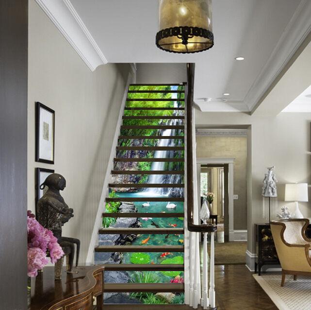 3D Baum Wasser 553 Stair Risers Dekoration Fototapete Vinyl Aufkleber Tapete DE