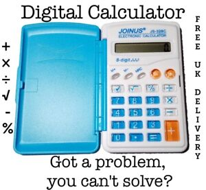 Small-Pocket-blue-Calculator-basic-Handheld-School-College-uni-maths-slim-UK