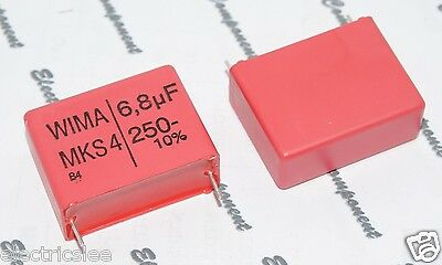 WIMA MKS4 6.8uF 250V 10/% pitch:27.5mm Capacitor 6,8µF 1pcs