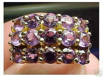 BEAUTIFUL AMETHYST & DIAMOND RING SIZE6  NO RESERVE