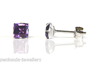 Image Is Loading 9ct White Gold Earrings Square Amethyst Studs Gift