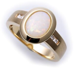 Excl Anello da Donna Vero Oro 585 Opale Brillante 0,08ct Giallo Diamante