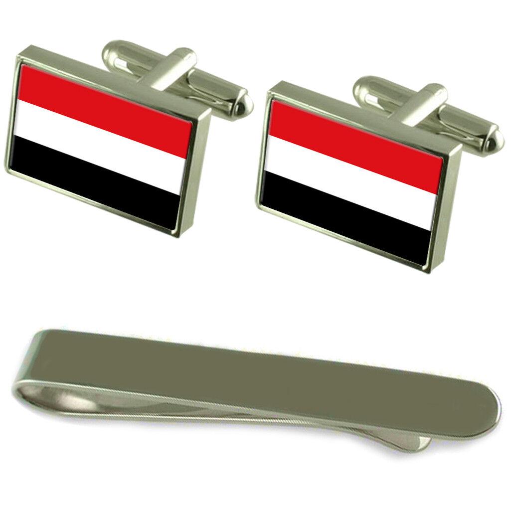 Yemen Yemen Yemen Flag argentoo Gemelli Fermacravatta Box Set Regalo 8e47d6