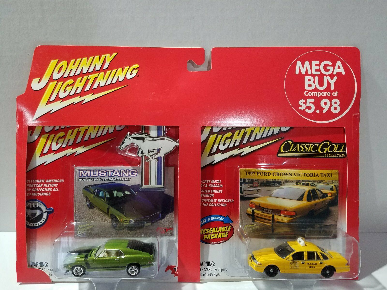JOHNNY LIGHTNING 2PK 1970 MUSTANG & 1997 CROWN VICTORIA TAXI CLASSIC gold
