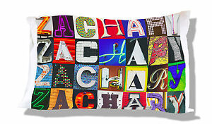 Personalized Pillowcase featuring RHIANNON in photo of actual sign letters