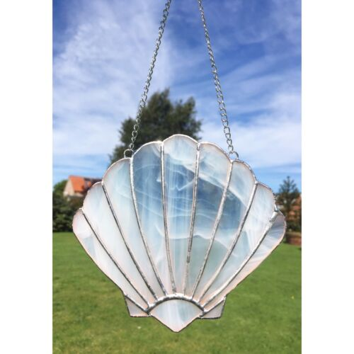 Handmade Stained Glass White Shell Suncatcher Seaside Beach Theme Decoration