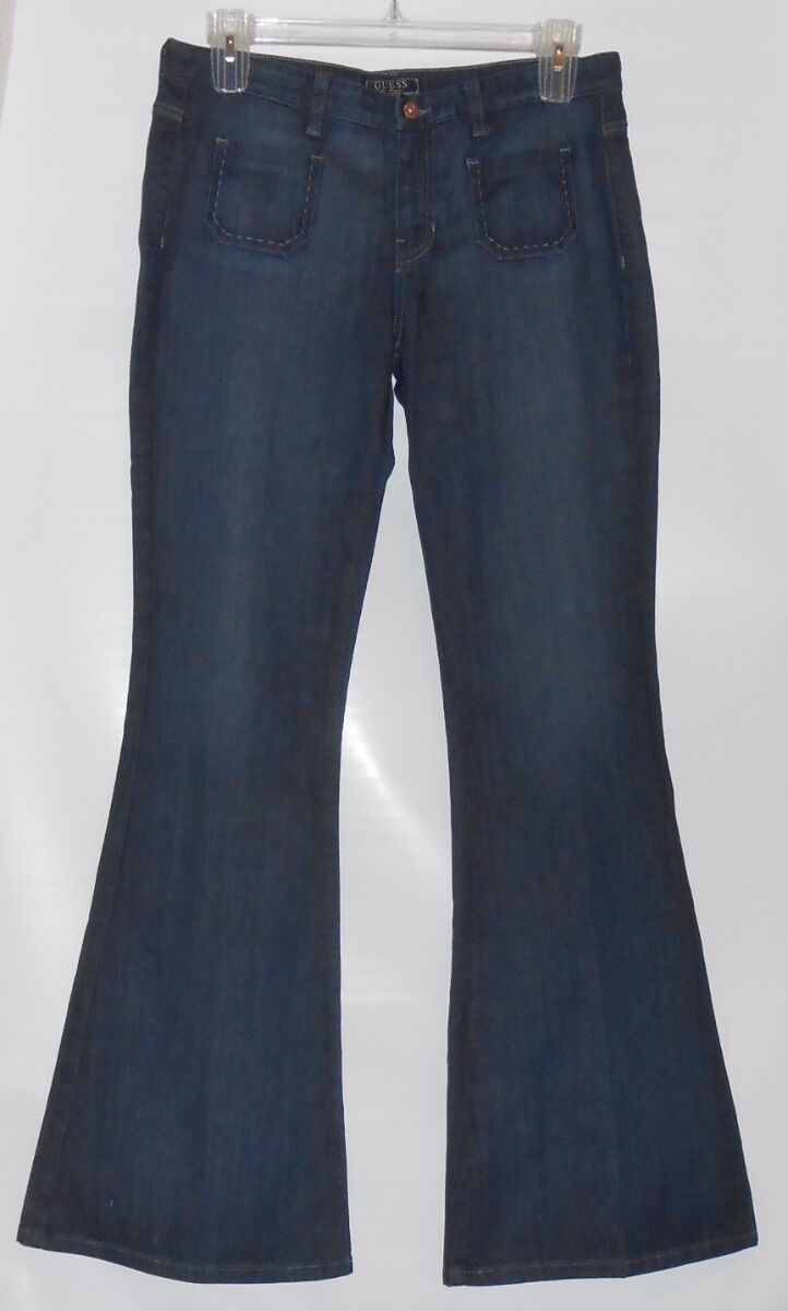Guess Junior Flare Denim Jeans Admirable Wash 31X35 NWT