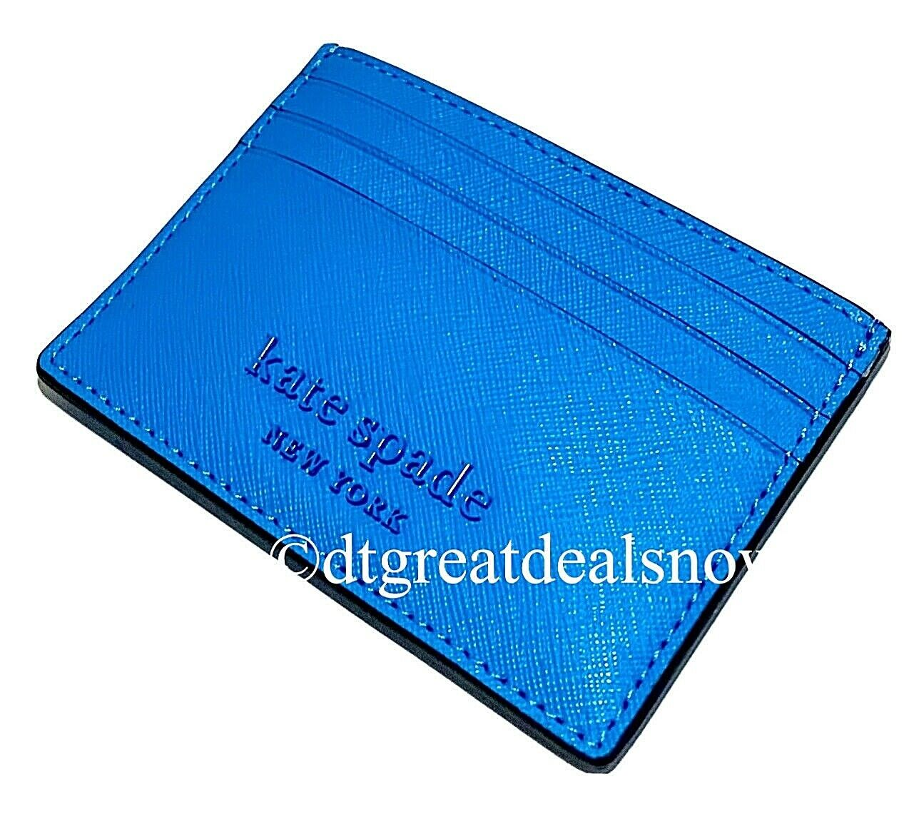 NWT Kate Spade Small Slim Card Holder Cameron Monotone Wallet Oceanside (Blue)