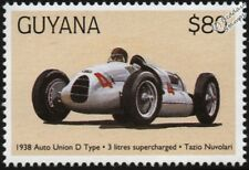 1938 Auto Union D-Type (Tazio Nuvolari) F1 GP Racing Car Stamp (1998 Guyana)