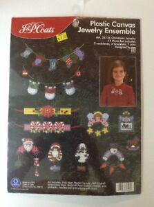 image is loading plastic canvas cross stitch christmas jewelry ensemble kit