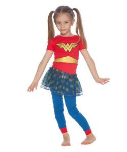 NWT Wonder Woman Girls Hooded Fleece Romper Sleeper Pajamas Halloween