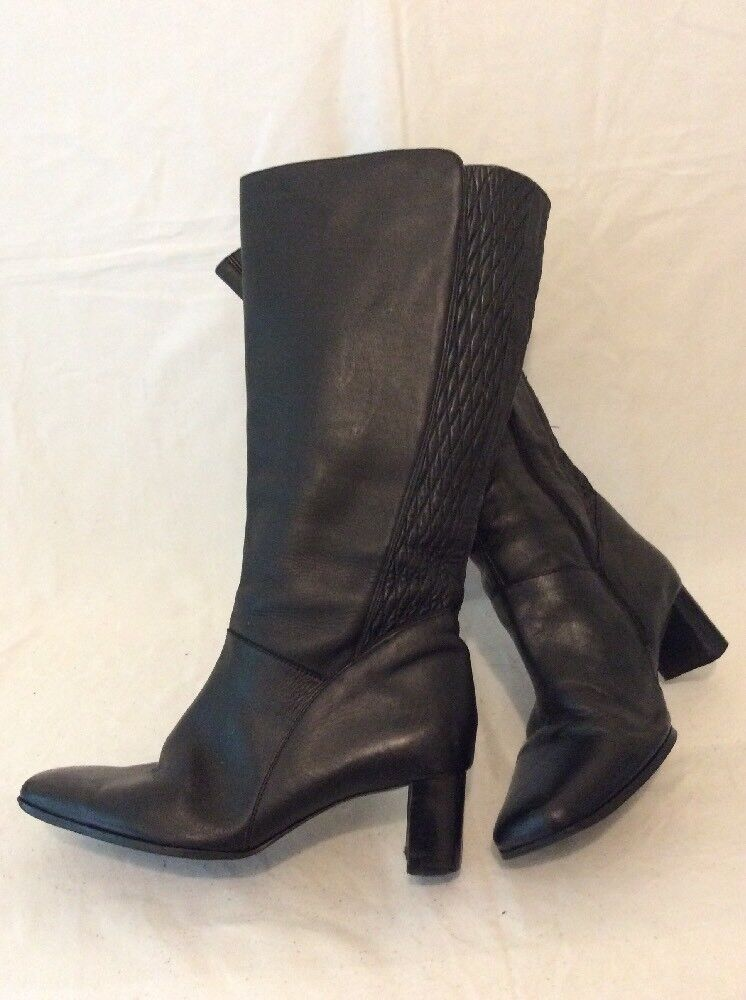The shoes Tailor Black Knee High Leather Boots Size 5EEE