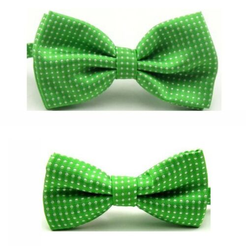 Men Boys Kids Bow Tie Party School White Polka Dots Adjustable Bowties Set