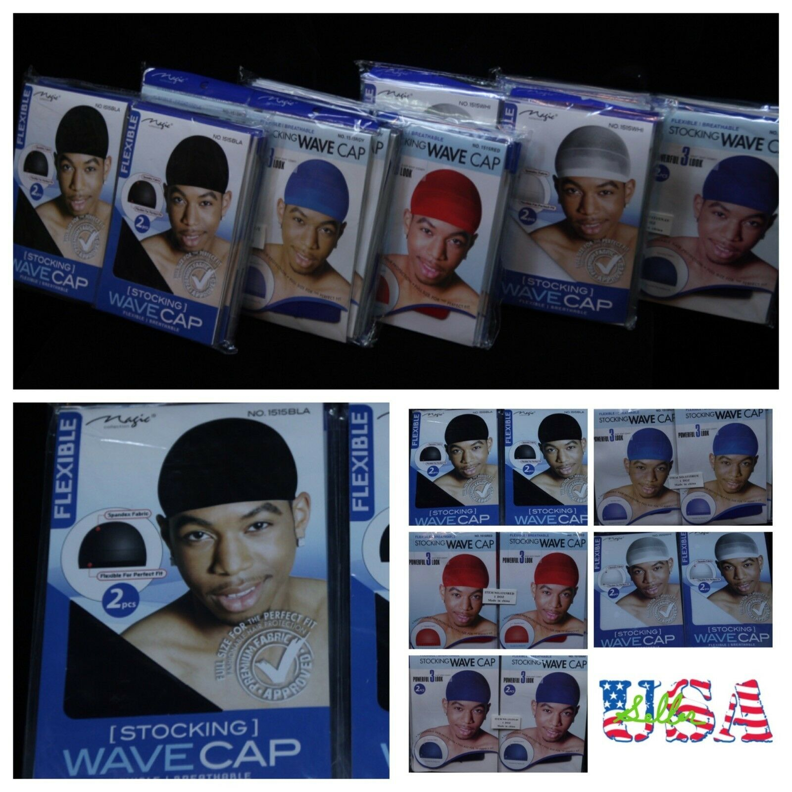 MENS 2PC Wave Stocking CapsSports Bike Motorcycle Headwrap dome cap