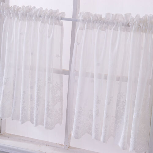 2 Panels Romantic Embroidered Lace Kitchen Tier Curtains Window Voile Sheers