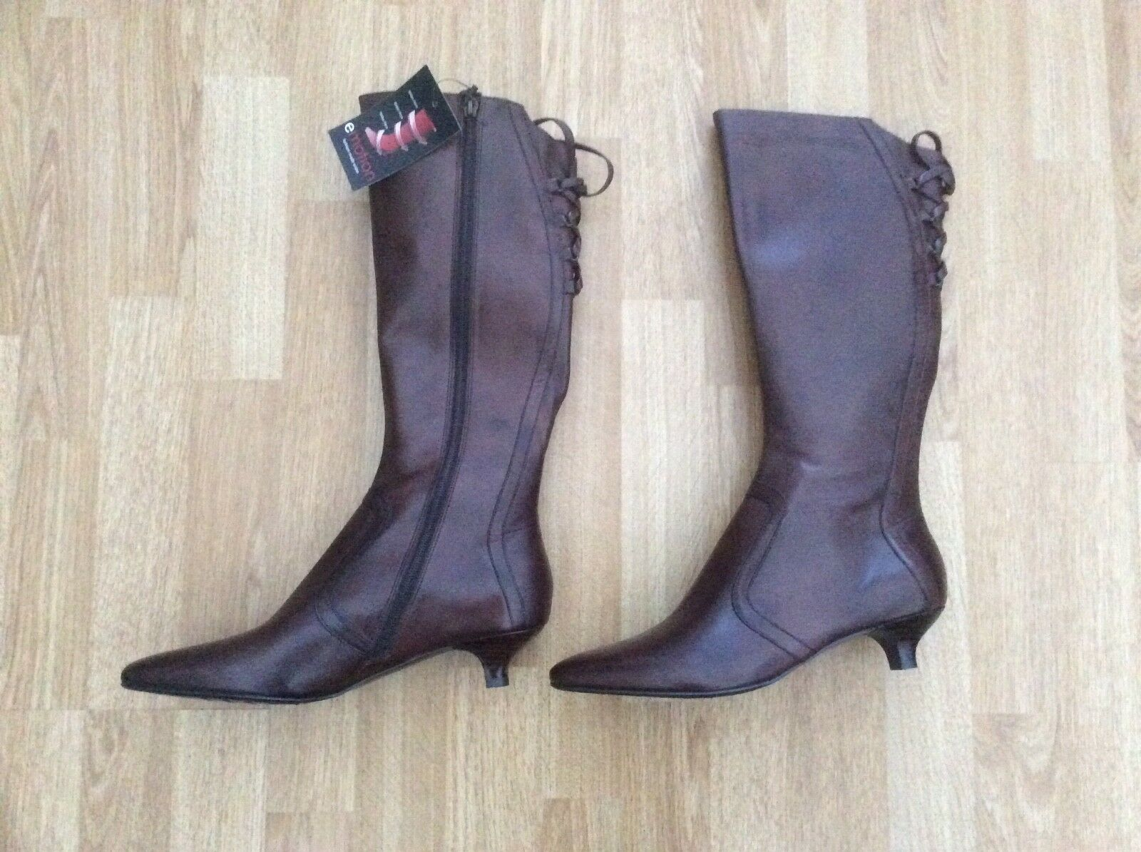 LADIES EMOTION KNEE HIGH LEATHER COMFY BOOTS STYLE NANCY BROWN SIZE