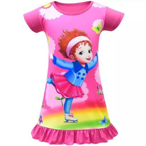 New Fancy Nancy Nightdress Cartoon Ruffle Dress Toddle Girls Kid Home Pajamas