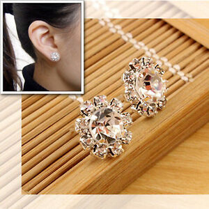 1 Pair Beautiful Fashion Women Lady Elegant Crystal Rhinestone Ear Stud Earrings