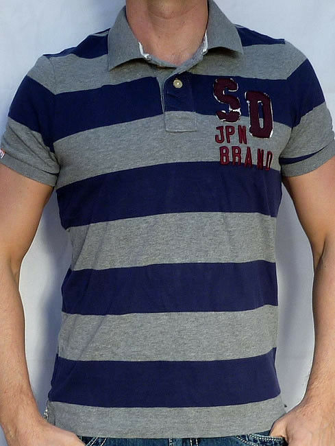 Superdry Men's - STRIPE POLO - T-Shirt - NEW - Dark Marl Grey   Navy