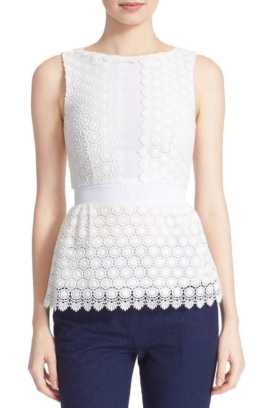 DVF Diane von Furstenberg 'Tavita' Sleeveless Lace Top NWT 14 Weiß