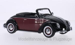 KKKKKC180112 VW, Beetle 1200 Hemm 65533;65533; Cabriolet, svkonst Dark röd, 1, 1 18 Kk-Scale
