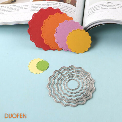 070215 6Pcs Circle Tags Stencils Metal Cutting Dies For Diy Papercraft Project E