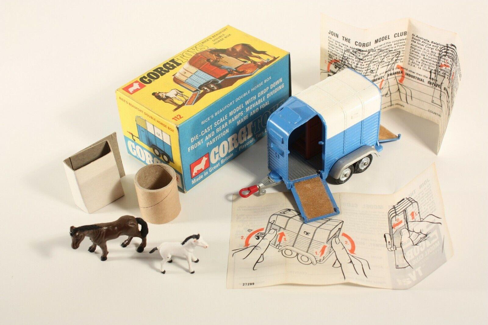 Corgi toys 112, rice's Beaufort Double Horse Box, Mint en Box  ab2161
