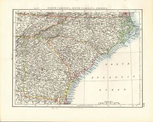 1897 ANTIQUE MAP- JOHNSTON - USA - NORTH CAROLINA, SOUTH CAROLINA ...