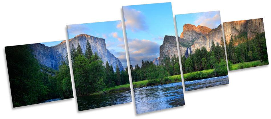 Yosemite Landscape Sunset MULTI CANVAS Wand Kunst Box Frame Drucken