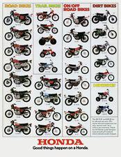 1974 HONDA LINE UP FULL LINE VINTAGE MOTORCYCLE POSTER PRINT 36x28