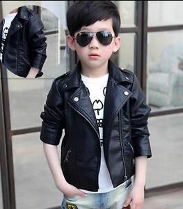 2c11a1958 Image is loading Kids-Boy-Girls-Coat-Children-Leather-Jacket-Leather-