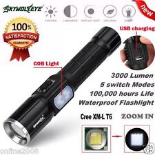 3000LM 5 Modes Zoomable CREE XM-L T6 LED 26650 Flashlight Focus Torch Lamp+ COB